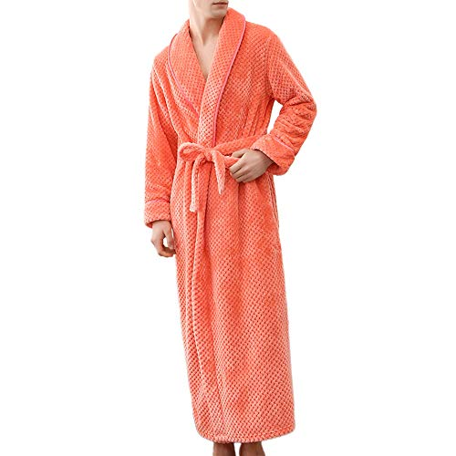 POQOQ Sleepwear Men&Women Winter Bathrobe Home Clothes Shawl Long Sleeved Robe XL Orange from POQOQ