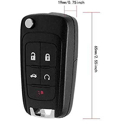 VOFONO Replacement Uncut Trunk Car Key Fob Keyless Entry Remote Flip fits 2010-2020 Chevy Equinox, Sonic, Trax, Terrain (OHT01060512) / P/N: 13504199, 13500221 Set of 1: Car Electronics