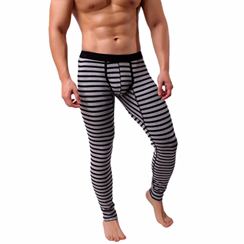 Franterd Men's Thermal Underwear Wintergear Striped Breathe Patchwork Cotton Legging Low Rise Long Johns Thermal Pant for Winter Traveling (Gray