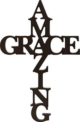 Amazing Grace Cross Black 30 x 12 Wood Cutout Wall Word
