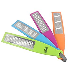 Dianoo Vegetable Grater, 4 Different Colorful Stainless Steel & Plastic Blades Hand Graters/Zester for Parmesan Cheese, Ginger, Vegetables