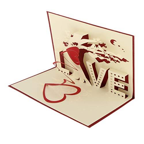 Baoblaze 3D Pop Up Tarjetas De Felicitación, De Agradecimiento Para Boda De Cumpleaños - Árbol del amor