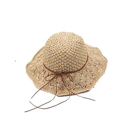 - Besty-sports Women sun hat Foldable Bohemia Wide Brim Roll-Up Beach Hat summer hats Crocheted Straw Hat Beach Sun Hollow Visor Cap For Travel, beige