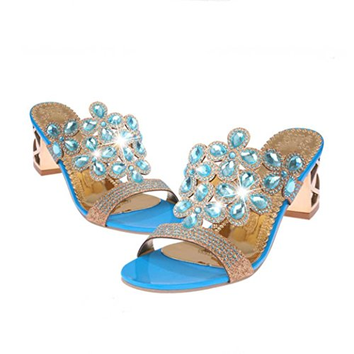 - Baigoods SWomen Summer Fashion Flip Flops High Heel Sandals Fat Girls Rhinestone Crystal Wedges Shoes (US:7, Sky Blue)
