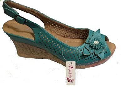 2558638e8 Manfield Womens Peep Toe Wedge Sandals Ladies Shoes (5) Turquoise ...