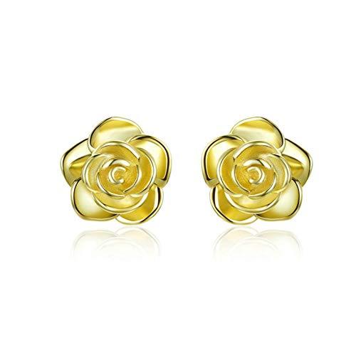 YIGEZHONGZI 10K Gold Flower Stud Earrings For Lady Women Girls With Gift - Gold Flower 10k Birthstone Earrings