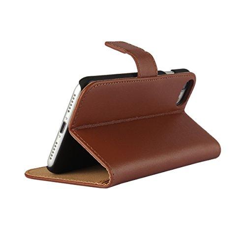 Meimeiwu Hohe Qualität Wallet Case Flip Cover Hüllen Schutzhülle Etui Hülle mit Standfunktion für iPhone 7 - Braun