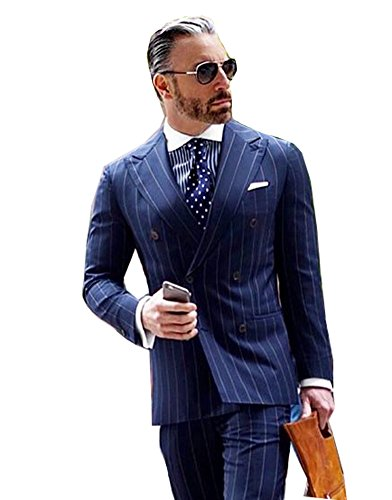 Mens Double Breasted Tuxedo (Men's Navy Blue 2 Piece Strips Wedding Tuxedos Slim Fit Double Breasted Suits for Men)