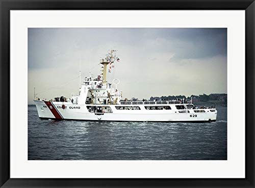 US Coast Guard Cruiser Decisive WMEC-529 Framed Art Print Wall Picture, Black Frame, 32 x 24 inches