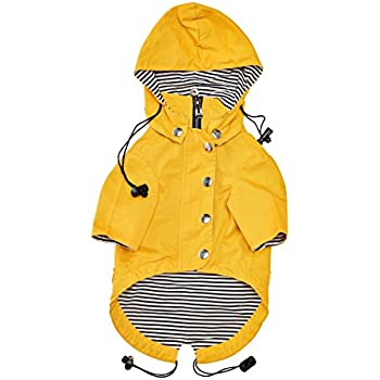 Yellow Zip Up Dog Raincoat With Reflective Buttons, Pockets, Rain/Water Resistant, Adjustable Drawstring, & Removable Hoodie - Extra Small to Extra Large - Stylish Dog Raincoats By Ellie Dog Wear. (M)