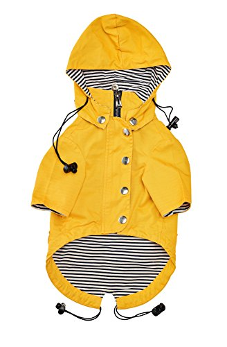 [Zip Up Dog Raincoat With Reflective Buttons, Pockets, Rain/Water Resistant, Adjustable Drawstring, & Removable Hoodie - Available in Extra Small to Extra Large - Yellow Stylish Dog Rain Jacket] (Third Leg Costume)