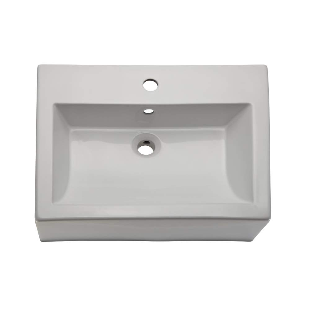 DecoLav 1417-8-CWH Bluebell 22-3//8 Ceramic Above Counter Vessel Sink with Overflow