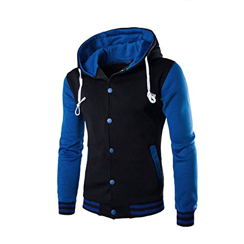 Men Sweatshirt Retro Hoodie Long Outerwear Hooded Jacket Hooded Button Slim Blue Sleeve HARRYSTORE FqSCwF