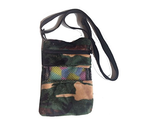 Power of Dream Shoulder Bag with Zipper Camouflag Printed Travel Comfort Carrier for Small Pet Sugar Glider Hamster Bird