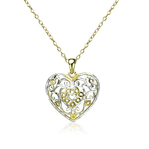 Yellow Gold Flashed Sterling Silver Two-Tone Diamond-cut Filigree Heart Pendant - Necklace Two Heart Locket Tone