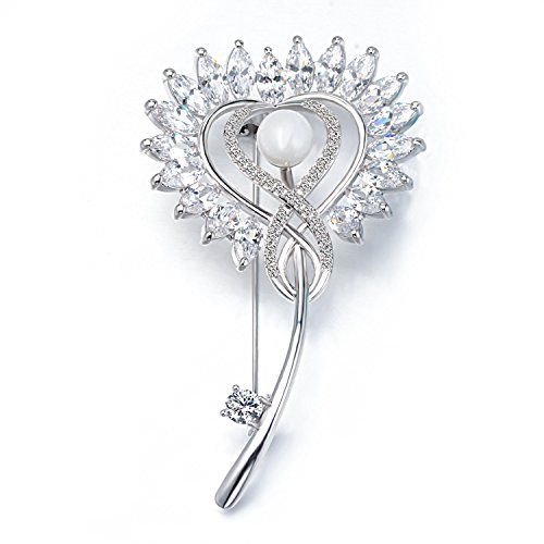 Wonvin Mujer Hoja Broche Perla de Concha Oro Blancode 18K Plateado con Regalo de Cristal Circonia