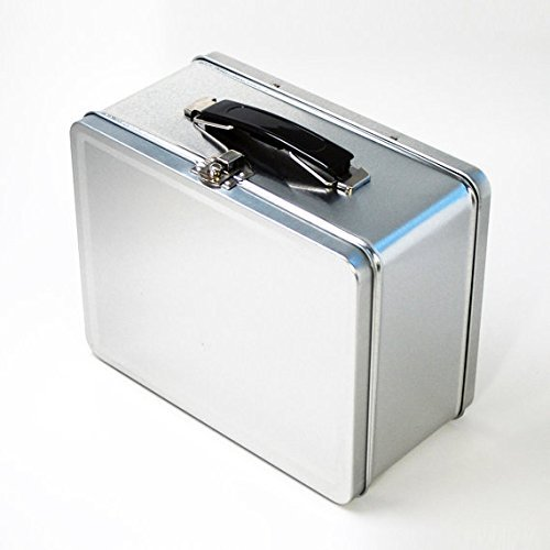 (Plain Metal Lunch Box, Silver (8 W x 6 L x 3 Deep))