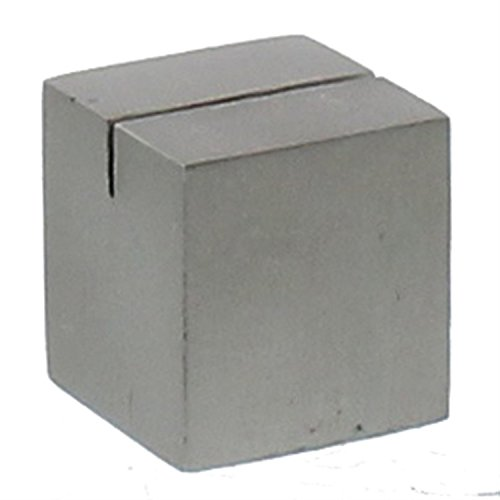 Silver Iron Place Card Holder Set | Nickel Metal Cube Block Simple (Holders Silver Card Place Pair)