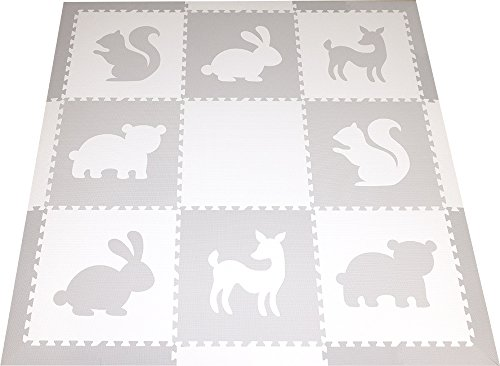 SoftTiles Woodland Animals Foam Playmat | Kids Floor Mats | Non-Toxic Baby Play Mat w/Sloped Edges for Playrooms and Nursery- Extra Thick 2 Foot Floor Tiles (6.5' x 6.5') (White, Light Gray) SCWOOWH by SoftTiles