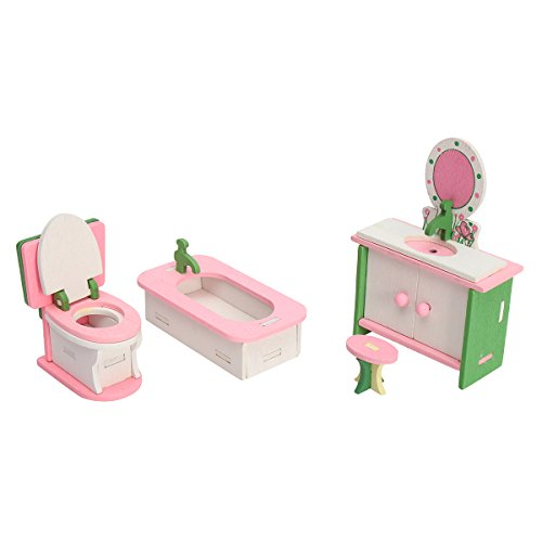 HITSAN 4 Sets of Delicate Wood Dollhouse Furniture Kits for Doll House Miniature One Piece by HITSAN (Image #3)