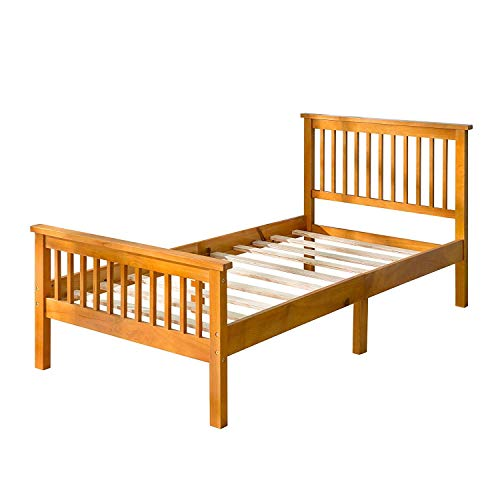 Bed Frame Twin Pine Wood,JULYFOX Platform Bed with Headboard Solid Wood Slats Footboard Side Rails 6 Wood Legs No Box Spring Needed 400lb Heavy Duty for Kids Unisex Adults and Small Spaces Oak
