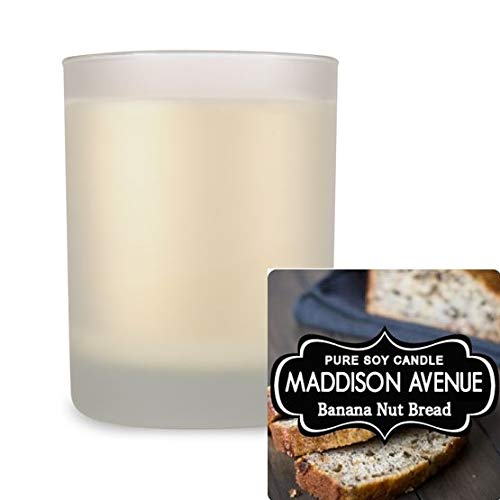 Cotton Wick Banana Nut Bread Scented Soy Candles Frosted Glass Spa Tumbler 14 oz
