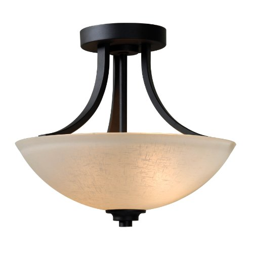 Kenroy Home 93197BBZ Dynasty 2-Light Semi Flush Light Fixture with Burnished Bronze ()