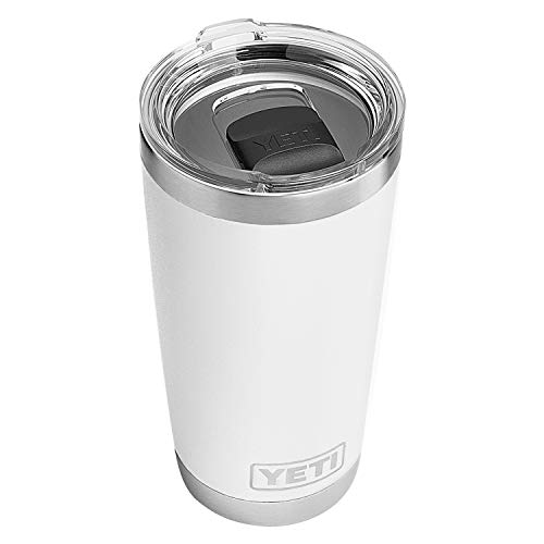 White Travel Tumbler - YETI Rambler 20oz with MagSlider Lid, White