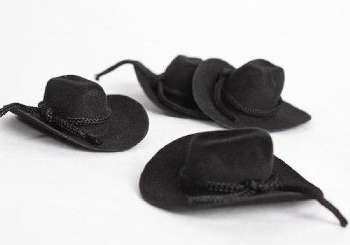 Miniature Black Felt Cowboy Hats (Set of 12)