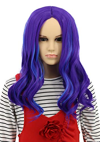 Karlery Kids Child Long Wave Purple and Blue Cosplay Wig Halloween Costumes Anime Party Wig(Kids)