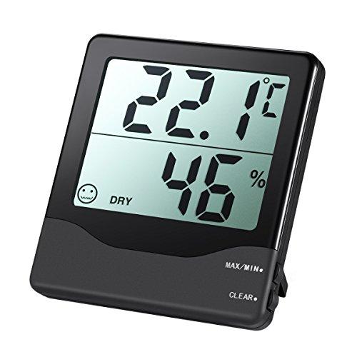 Amir Digital Thermometer Hygrometer Home Comfort Monitor Temperatur- und Luftfeuchtigkeitsmessgerät mit großem LCD-Bildschirm, MIN-/MAX-Aufzeichnungen, genauer Messwertablesung, °C-/°F-Schalter, für Autos, Zuhause, Büro, etc.