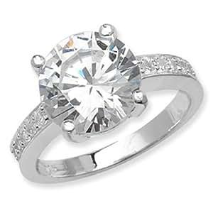 Elegant transparente CZ anillo de plata de ley Tamaño O