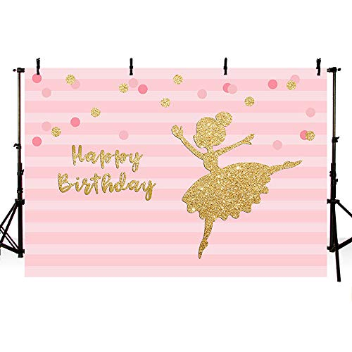 MEHOFOTO Princess Happy Birthday Photography Backdrops Pink Stripes Gold Polka Dots Girl Ballet Princess Birthday Party Decoration Banner Photo Studio Booth Background 7x5ft