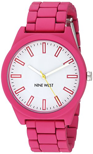 Nine-West-Womens-NW2009WTPK-Matte-Hot-Pink-Rubberized-Bracelet-Watch