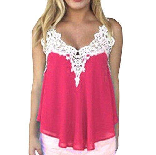 Blusas Camisetas sin Manga Mujer Camisas Blusa Gasa Cortas Camiseta Encaje sin Mangas Camisetas de Tirantes Dama Top Verano Blusones Chalecos Señora Bluson Chicas Blusas de Fiesta Rosa