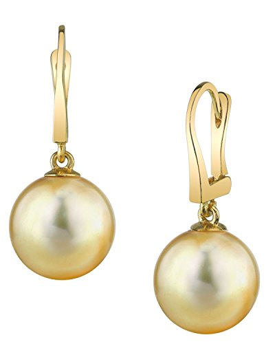 Sea Golden South Pearl 11mm (THE PEARL SOURCE 14K Gold 10-11mm Round Genuine Golden South Sea Cultured Pearl Classic Elegance Earrings for Women)