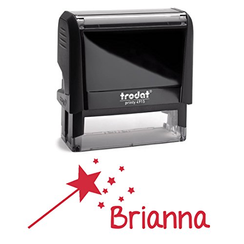Personalized Kids Name Self Inking Stamp, Star Wand Stamp, Custom Font, Customized with Name, Rubber Stamp, Naming Stamp, Children's Signature Stamper, School Book Label Child Name, Stamp (Red) by Pixie Perfect Stamps