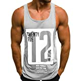 Men's Undershirts Casual Slim Shirts Tank Top Letter Printed Sleeveless T Shirt Blouse (L, Gray)