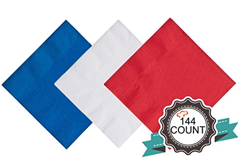 Tiger Chef 4th of July Napkins, Red White and Blue, 144-Pack Cocktail Napkins, Beverage Paper Napkins, Fourth of July Party, Patriotic Decor, 2-Ply - Includes Napkin Folding Guide (144, July 4th)