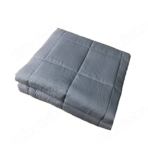 Whoishe Weighted Gravity Heavy Blanket - Cotton Anxiety Sensory Blanket for Adults - Great Sleep Therapy for People with Anxiety, Autism, ADHD, Insomnia or Stress (Grey, 60''x80'' 20lbs) by Whoishe