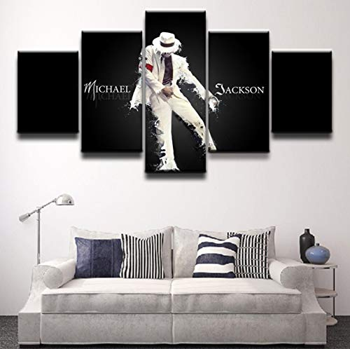sansiwu X Artwork 5 Panel Canvas Printed Michael Jackson Poster Painting Modern Decorative Home Decor Wall Art Modular Pictures