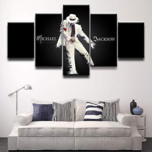 - sansiwu X Artwork 5 Panel Canvas Printed Michael Jackson Poster Painting Modern Decorative Home Decor Wall Art Modular Pictures