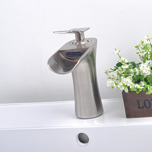 Furesnts Modern home kitchen and bathroom faucet Dan Lian-safety environmental protection type waterfall basin Faucets mixing valve SinkFaucets,(Standard G 1/2 universal hose ports) by Furesnts Faucet (Image #1)