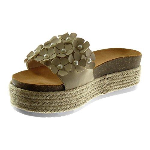 Angkorly Damen Schuhe Mule Sandalen   Slip on   Plateauschuhe   Blumen   Perle   Seil Keilabsatz High Heel 6 cm