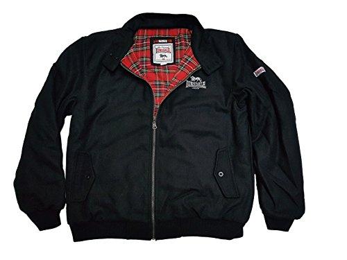 Lonsdale Men´s Slim-Fit Heavy Melton Wool Winter Harrington Jacket Black (X-Large (XL) Slim-Fit)