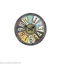 unbrand METAL ROUND LICENSE PLATE WALL CLOCK