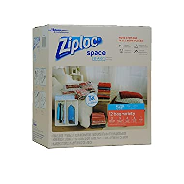 Ziploc Space Bag Dual Use 12 Bag Space Saver Set