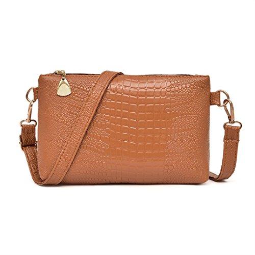 Price comparison product image Bolayu Women Fashion Handbag Crocodile Pattern Shoulder Bag Small Tote Ladies Purse (Brown)