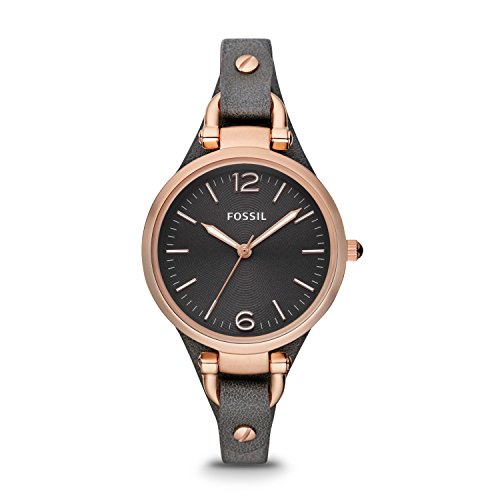 Fossil Women's Georgia Stainless Steel Analog-Quartz Leather Calfskin Strap, Grey, 8 Casual Watch (Model: ES3077)