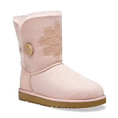 Ugg Womens Bailey Button Kimono Flower Boots, Baby Pink, Size UK 4 / UK
